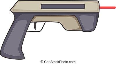Laser beam pistol icon, cartoon style