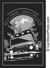 Off-road car logo, safari suv, expedition offroader. Vector...