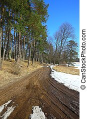 Dirtroad with melting snow - Dirtroad crossing the...