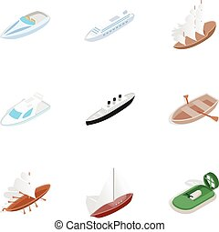 Sea ship, boat and yacht icons, isometric 3d style - Sea...