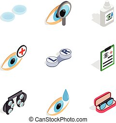 Vision icons, isometric 3d style - Vision icons set....