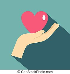 Hand holding a pink heart icon, flat style