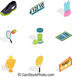 Big tennis icons, isometric 3d style