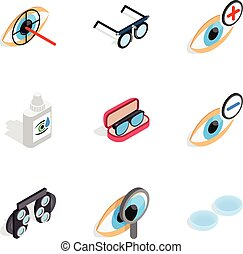 Healthy eyes icons, isometric 3d style