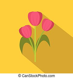 Pink tulips icon, flat style