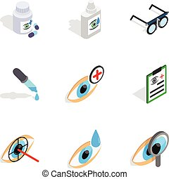 Eye care icons, isometric 3d style