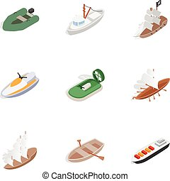 Sea transport icons, isometric 3d style - Sea transport...