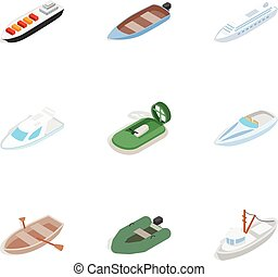 Ship and boat icons, isometric 3d style - Ship and boat...