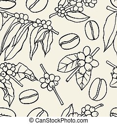 Coffee bean pattern - Monochrome Vector Seamless pattern...