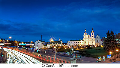 Belarus, Minsk - Holy spirit cathedral at dusk