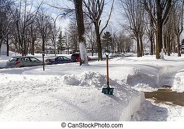 winter shoveling - Sorel-Tracy, Canada-13 February 2017 :...