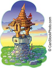 Old Fairy Tale Wishing Well with Animals Vector Cartoon