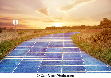 Solar power station in blue sky on the road
