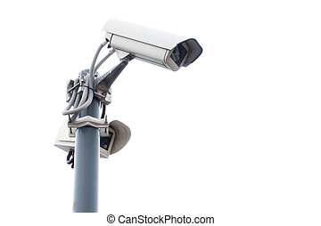 Outdoor surveillance cameras on the stand
