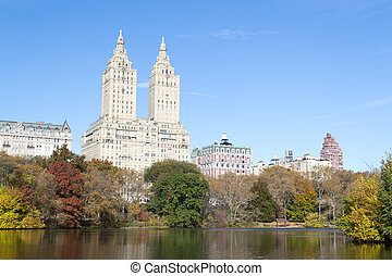San Remo appartments from the East side of The Lake in...