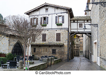 Overpass in Pamplona old town - The Caballo Blanco located...