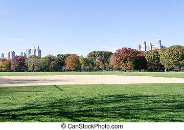 Great lawn located in the heart of Central Park during the...