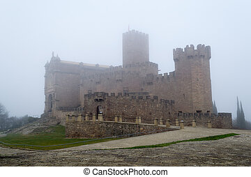 Castle of Xavier on a foggy day (Spain) - Castle of Xavier...