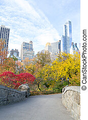 Midtown from Central Park in an Autumn morning - Fall is the...
