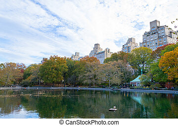 Conservatory water in Central Park by fifth avenue and 74th...