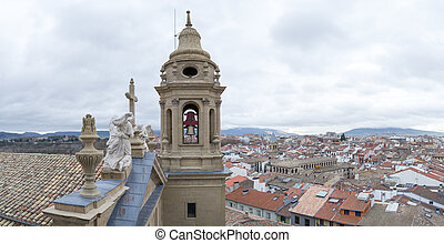 Pampona from the top - The bell tower of Pamplonas cathedral...