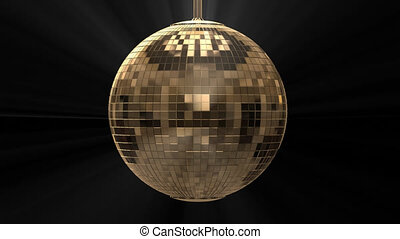 Golden shiny disco ball on black background