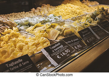 Food court pasta - Food court selling fresh pasta by weight.