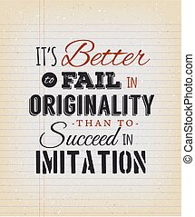 Motivational Quote On Vintage School Paper - Illustration of...