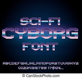 Sci-Fi retro font - Sci-Fi Future Cyborg Style Metal Techno...