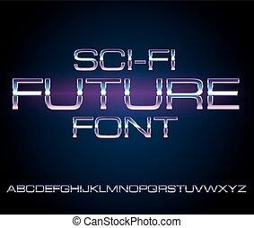 Sci-Fi retro font - Sci-Fi Future Style Metal Techno Look...