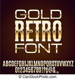 Metal Elegant Font - Retro Art Deco Gold Thin Metal Chrome...
