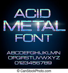 Metal Elegant Font - Elegant Acid Toxic Colored Thin Metal...