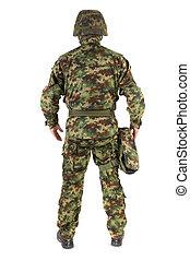 soldat, vit, bakgrund