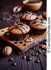 Coffee and walnut muffins - Coffee muffins with grated...