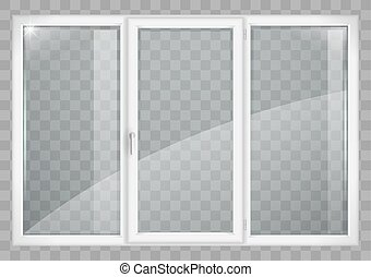 White window with transparent glass