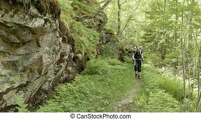 Girl on the trekking in Norway