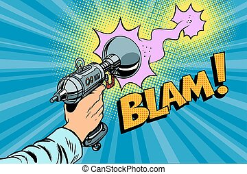blam Science fiction shot of a Blaster comic cloud. Vintage...