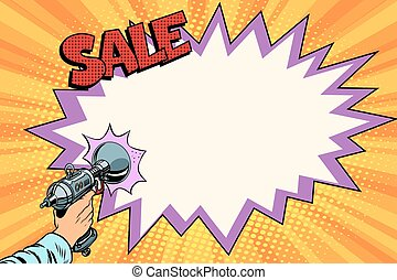 sale comic cloud Science fiction shot of a Blaster. Vintage...