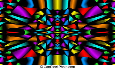 Seamless loop abstract video background with multicolored fragments, kaleidoscope ornament
