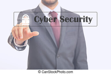 Man pointing at cyber security on a glass surface