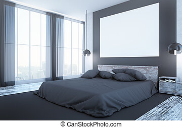 Clean bedroom interior with furniture, blank whiteboard,...