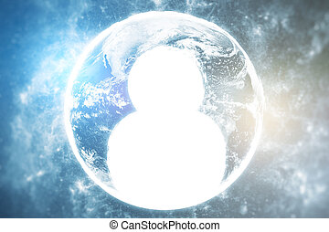 HR concept - Close up of abstract globe with human icon. HR...