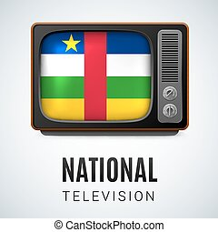 Round glossy icon of Central African Republic - Vintage TV...