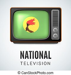 Round glossy icon of Zaire - Vintage TV and Flag of Zaire as...