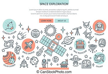 Space Exploration Banner with Icons. Web Design Concept in...
