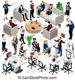 Isometric People Business Crowd Icon 3D Set Vector...