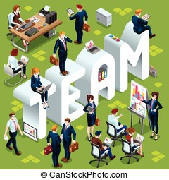Isometric People Team Icon 3D Set Vector Illustration