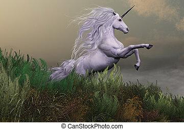 White Unicorn on Mountain
