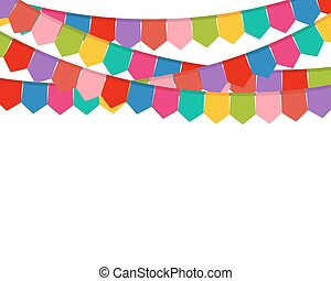 Colored flags on a holiday garland - vector illustration...