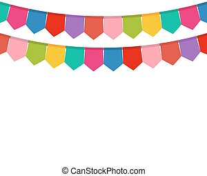 Colored flags on a holiday garland vector illustration